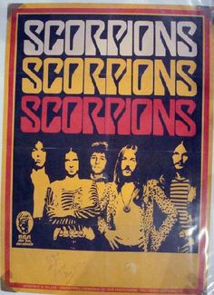 Original German tour blank poster for the Scorpions. Hand-signed at the bottom by Klaus Meine. This was the In Trance tour and the lineup was Francis Buchholz, Klaus Meine, Rudy Lenners, Uli Roth, Rudolf Schenker. 23.25 x 33 inches. Factory folds, taped corners, minor creases and edge wear. Photographed inside a plastic sleeve.