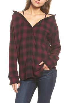 BAILEY44 WOMEN'S BAILEY 44 TERRE CHECK OFF THE SHOULDER TUNIC. #bailey44 #cloth #