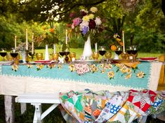 vintage tablecloth and quilt