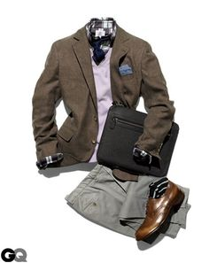 Brown blazer, white shirt, blue tie, blue square tie, grey trousers, brown shoes, brown belt
