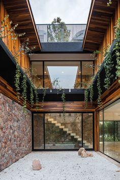 Un patio intérieur alliant bois, pierre et végétalisation #ecoattitude