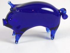 cobalt blue pig | Cobalt Blue Art Glass Pig Figurine | eBay