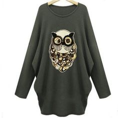 Best price on Sweater O-Neck Long Sleeve Knitted Pullover Wise Owl Printed  �  Price: $ 28.80
