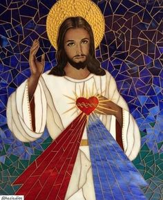 Jesus Christ Painting, Jesus Art, Catholic Art, Religious Art, Jesus Our Savior, Christian Paintings, Pictures Of Jesus Christ, Mosaic Portrait, Divine Mercy