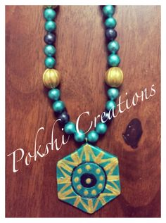 Terracotta Jewellery - green and gold