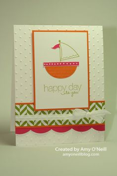 Moving Forward, Friendly Phrases  Ink:  Lucky Limeade, Pumpkin Pie, Melon Mambo  Paper:  Pumpkin Pie, Melon Mambo, Whisper White, Summer Smooches  Embellishments:  Perfect Polka Dot embossing folder, Large Scallop Edgelits, Whisper White 1/4″ Stitched Grosgrain Ribbon