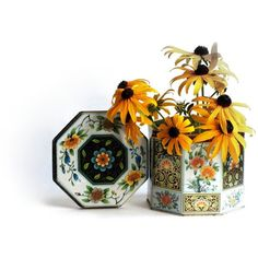 Vintage Daher Octagonal Floral Candy Tin Teal Orange Yellow Flowers... (£9.77) ❤ liked on Polyvore featuring home, home decor, etsy, recreated1, yellow home accessories, yellow home decor, teal home decor, gold home accessories and vintage home accessories