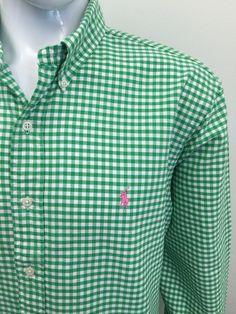 #RALPHLAUREN Mens Shirt XL CUSTOM FIT Green White GINGHAM CHECKED Cotton #CHEAP #DESIGNER #FASHION #MENSWEAR #MENSTYLE #MACMENSWEAR #MENSCLOTHING #MENSFASHION