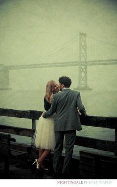 Bay Bridge San Francisco Rainy Day Engagement Photo  Nightingale Photography