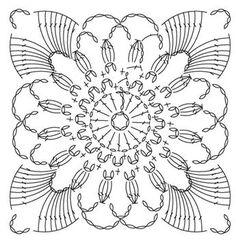 Irish Crochet Flower Motif I'm Crochet Motif Patterns, Crochet Blocks, Granny Square Crochet Pattern, Crochet Diagram, Crochet Chart, Crochet Squares, Thread Crochet, Crochet Granny, Irish Crochet