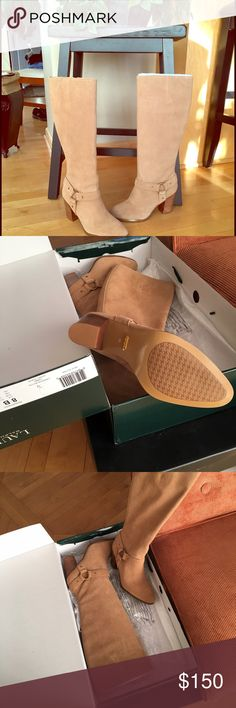 ✨SALE✨NWT Ralph Lauren fareeda suede tall boots. 🌺Beautiful!!! Ralph Lauren suede camel color tall heeled boots. Size 8. These boots are soft suede and have full zip up the inside. You have to add these to your collection!! Ralph Lauren Shoes Heeled Boots
