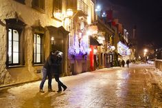 CLICK THIS PIN to see more night time romantic engagement photos. quebec city engagement photography at night