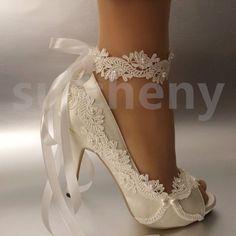 """3"""" 4"""" Salto Cetim Branco Marfim Renda fita tornozelo aberto Toe sapatos de casamento tamanho 5-9.5"""