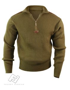 242e50f9b3f Franky Fashion - Olive Drab 1 4 Zip Commando Sweater