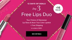Twelve Days of Deals Day 3 ~ Sunday December 3rd Only ~ Free Free Lips Duo plus Free Shipping on orders of $45 or more. Use Code SERUM and Shop Now