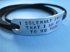 Harry Potter inspired Jewelry, Personalized Wrap bracelet, Stamped Aluminum. $19.00, via Etsy.