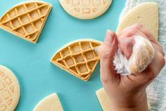 How to Make Cute Waffle Cookies with a Video | The Bearfoot Baker    Decorated Cookies | Sugar Cookies | Royal Icing | How to | Food Cookies | Breakfast Cookies | Egg Cookies | Bacon Cookies | Waffle Cookies | Photography | Take Cookie Photos | Waffle Sandwich | Stack of Waffle Cookies