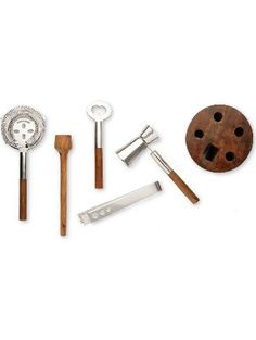 Francois et Mimi Stainless Steel Cocktail Bar Tool Kit Set; Includes Ice Tongs, Muddler, Stirring Spoon, Strainer, and Bar Key / Bottle Opener with Unique Wood Storage Rack ❤ Francois et Mimi