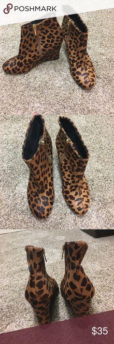 Leopard print ankle boots Super cute leopard print wedges from Victoria secret! PINK Victoria's Secret Shoes Ankle Boots & Booties