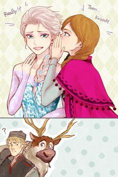"Girls talk by Yudukichi.deviantart.com on @deviantART - Elsa, Anna, Kristoff and Sven from ""Frozen"". Yeah, I expect the sisters would have their little moments like this after the end of the movie ;)"