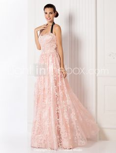 2244200d45 A-Line Halter Neck Floor Length Lace Prom   Formal Evening Dress with by TS  Couture®
