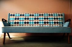 Blue Daisy 1950s Sofa- Retro Graphic Upholstered Furniture Work. Scandinavian Reproduction (SF002)