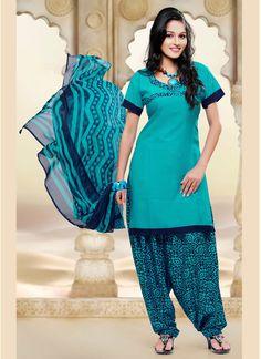 Aqua Crepe Silk Punjabi Suit 58787