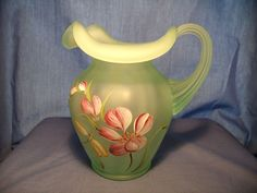 Fenton Painted Pitcher signed S. Miller.