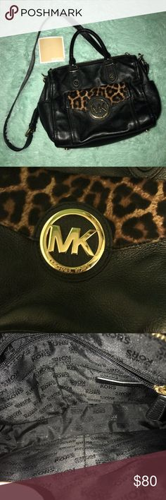 MK handbag AUTHENTIC Crossbody! 100% authentic. Comes with card. The connection inside the purse makes a triable like it should. Leather. About 12-14in wide. Cheetah print on the front Michael Kors Bags Crossbody Bags