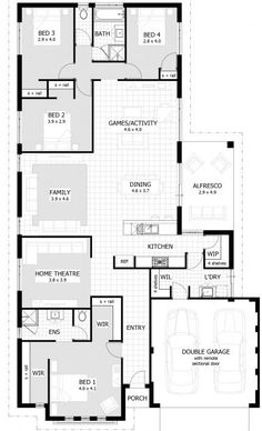 Simple floor plan for a family house. Not impressive or fancy, but pretty functional with the kids bedrooms together and the open floor plan with kitchen, dining and living space Four Bedroom House Plans, Bedroom Floor Plans, Cottage House Plans, 4 Bedroom House, New House Plans, Dream House Plans, Small House Plans, House Floor Plans, Master Bedrooms