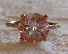 Peachy Pink Morganite in Rose Gold Diamond Solitaire Engagement Ring, by JuliaBJewelry on Etsy