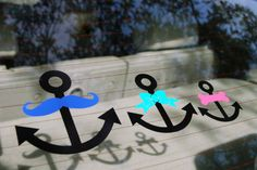 For the nautical family! Custom anchors to decorate your car and show your love for the sea. Pick your favorite colors and start showing off your family style!
