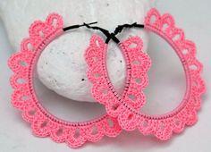Aros -  pendientes de ganchillo - crochet Joyeria textil Pendientes rosas Idea para regalo