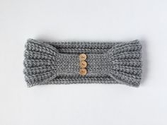 CROCHET PATTERN: The Bailey Headband - tapered back crochet headband with buttons (5 sizes - baby, toddler, child, teen/adult, adult large)