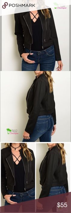 "Black Moto Jacket Perfect jacket for the next season! Long sleeved, zipper front Moto Jacket  Fabric: 94% Polyester                     6% Spandex Approx measurements         Small -  L:20"", B:36"", W32""    Medium -  L:21"", B:37"", W:33""       Large  -  L:22"", B:38"", W:34 Beach Wave Jackets & Coats"