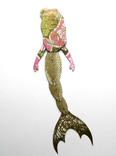 Mermaid Paper Art Doll Black Mermaid Melanated by JuliaPeculiar