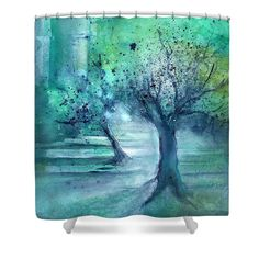 Olive Trees In Moonlight Shower Curtain featuring the painting Olive Trees in Moolight by Sabina Von Arx Green Bathroom Decor, Curtains For Sale, Green Watercolor, Olive Tree, Green Colors, Watercolor Paintings, Picture Frames, Moonlight, Artist