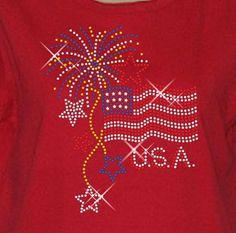 New Sweatshirt OR Long Sleeve Tee USA Heart Rhinestone Womens