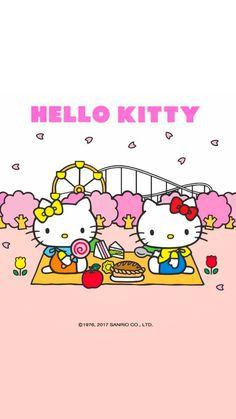 Hello Kitty Wallpaper Hd, Hello Kitty Backgrounds, Kitty Images, Sanrio Hello Kitty, Snoopy, Kawaii, Sanrio Characters, Painting, Wallpapers