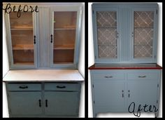 Hutch Makeover & Etching Glass Tutorial  http://2busybrunettes.com/2012/01/02/new-year-new-hutch/
