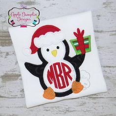 Christmas Penguin Applique Design Machine by AppleDumplinDesign
