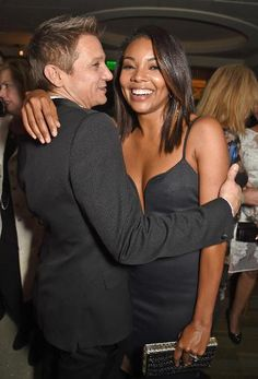 Jeremy Renner and Gabrielle Union - 2015 Golden Globes Party Pic.