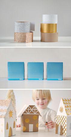 Casitas de juguete con cajas de pañuelos y Duct Tape - tb con washi puede hacerse.