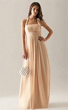 Empire Halter Floor-length Chiffon Bridesmaid Dress