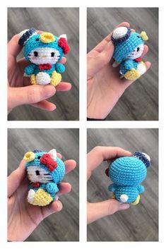 Crochet Keychain Pattern, Crochet Amigurumi Free Patterns, Diy Sewing Projects, Crochet Projects, Animal Knitting Patterns, Crochet Dollies, Knit Or Crochet, Crochet Designs, Hello Kitty