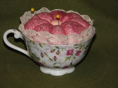 Tea Cup pin cushion, for a friend that collects teacups..