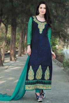 $33.94Navy Blue Brasso Pakistani Style Suit 56613