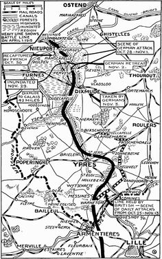 Map - First Battle of Ypres 1914 First Battle Of Ypres, Battle Of The Somme, Big Battle, World War One, First World, Ww1 Battles, Ypres Belgium, Classroom Projects, Train Layouts