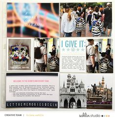 Welcome to Disneyland Tour Project Life layout using Project Mouse: Beginnings Kit and Journal Cards by Sahlin Studio and Britt-ish Designs