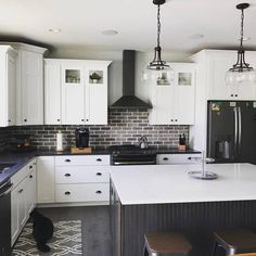Old Mill Brick Rushmore Colonial Collection Thin Brick Flats at The Home Depot - Mobile White Wood Kitchens, White Kitchen Cabinets, Kitchen With Black Appliances, Home Decor Kitchen, Home Kitchens, Kitchen Ideas, Kitchen Interior, Updated Kitchen, New Kitchen